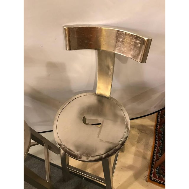 A Pair of Deco Style Steel Bar Stool For Sale - Image 9 of 12