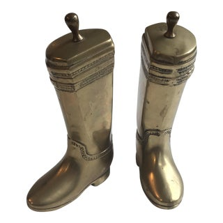 Vintage Brass Boot Bookends - A Pair For Sale
