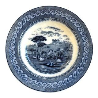 Antique 19th Century Flow Blue Staffordshire Large Bowl For Sale