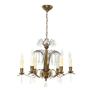 Midcentury Brass and Crystal Chandelier