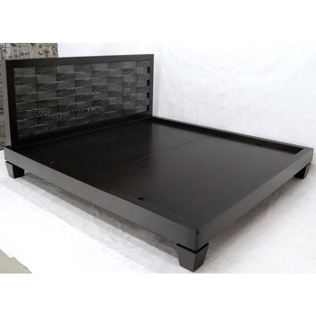Wood Large Massive King Size Black Lacquer Cerused Oak Bed Headboard For Sale - Image 7 of 13