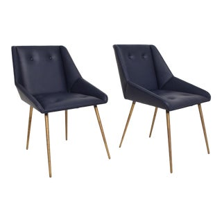 Mid-Century Modernist Navy Leather Chairs - a Pair For Sale