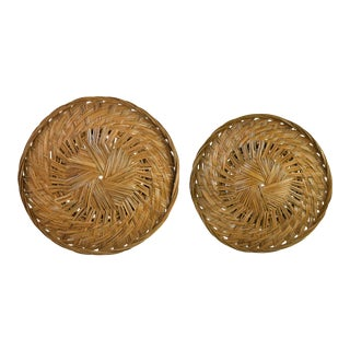 Hand Woven Wicker Rattan Boho Wall Hanging Decor Round Basket - a Pair For Sale