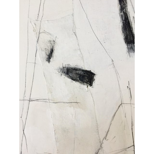 Abstract Black and White Mixed Media Painting For Sale - Image 4 of 7