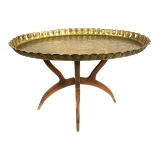 Mid-Century Moroccan Brass Tray Table For Sale
