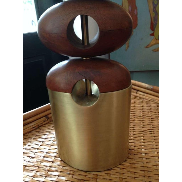 Architectural Stacked Walnut Ovals Table Lamps For Sale - Image 4 of 4