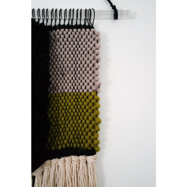Handwoven Blue, Green, Tan, Grey, Black, and Cream Wall Hanging - Image 4 of 6