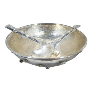 Emilia Castillo Silver Plated Bowl With Inset Pearls & Mother of Pearl For Sale