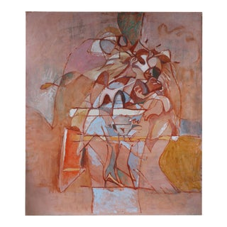Large Abstract Oil Painting in Pink, Circa 1970 For Sale