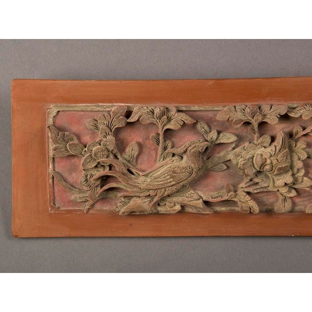 Asian Late 19th Century Kuang Hsu Period Chinese Carved Painted & Gilded Rectangular Plaque For Sale - Image 3 of 6