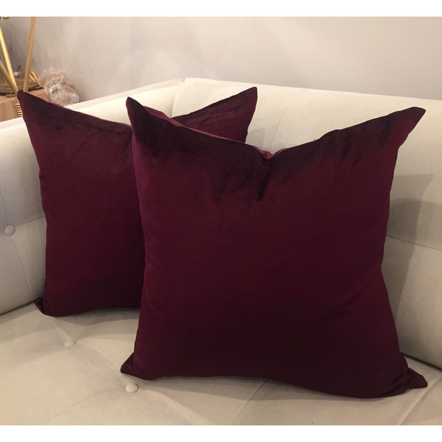 This listing is for a pair of very rich burgundy velvet pillows. The color of this low pile velvet fabric creates a rich...