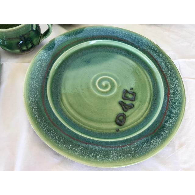 Gabriel Kline Pisgah Green Hand Crafted Pottery - Set of 24 For Sale - Image 4 of 8