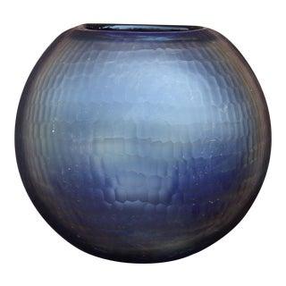 Contemporary Round Indigo Glass Vase