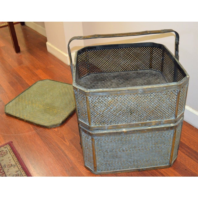Green Woven Rattan Basket Side Table For Sale - Image 4 of 6