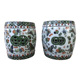 Ceramic Garden Stools With Floral Butterfly Motif- a Pair