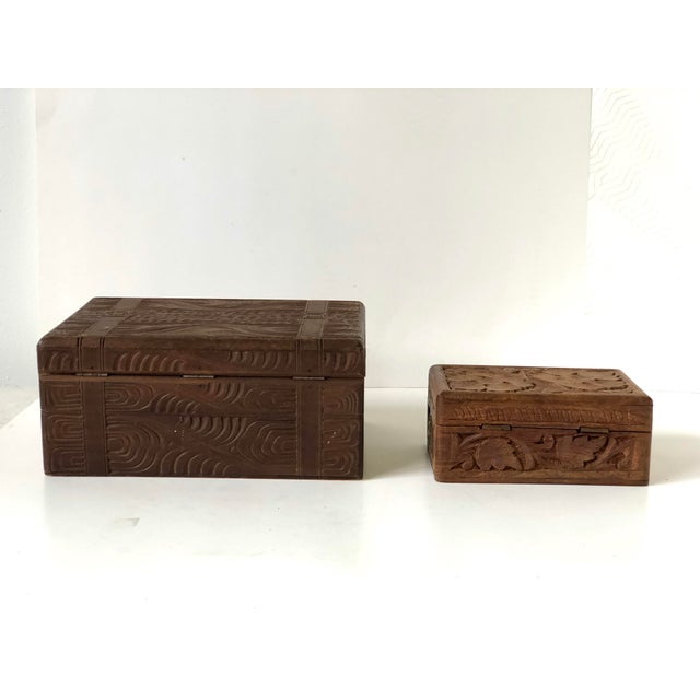 Late 19th Century English Wooden Carved Boxes, 19th Century - a Pair For Sale - Image 5 of 13