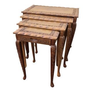 Vintage Asian Carved Wood Nesting Tables - Set of 4 For Sale