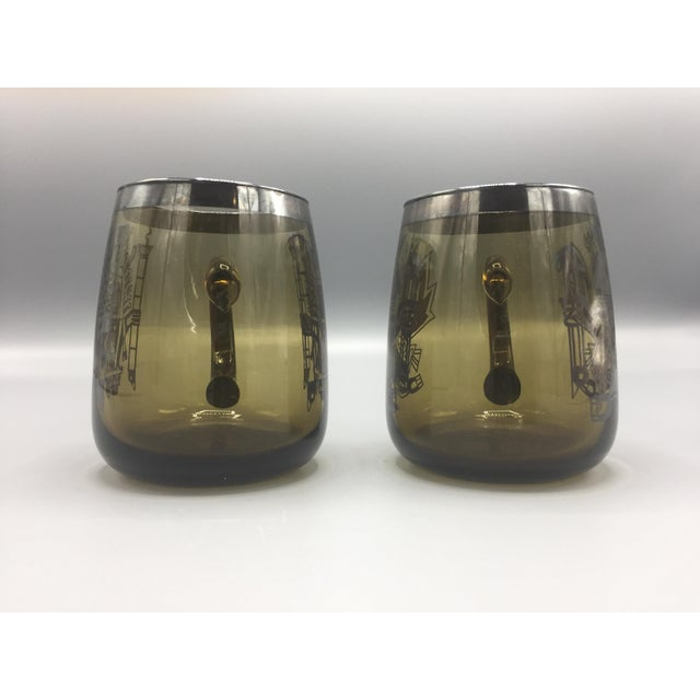 1960s Mid Century Smoke Glass Mugs-a Pair For Sale - Image 9 of 10