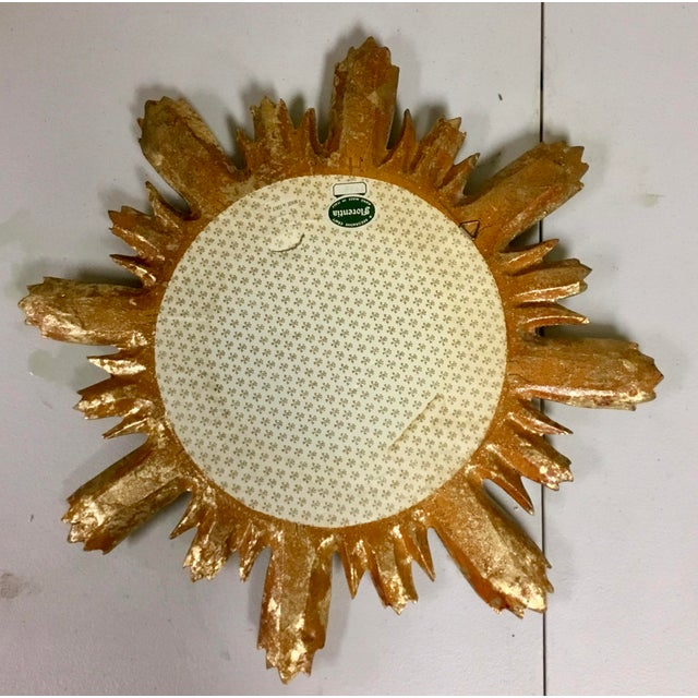 Florentia Italian Florentine Sunburst Giltwood Mirror For Sale - Image 4 of 5