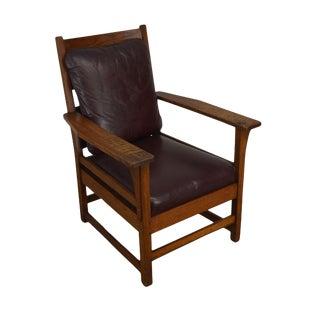 L. & J. G. Stickley Antique Mission Oak Lounge Chair For Sale
