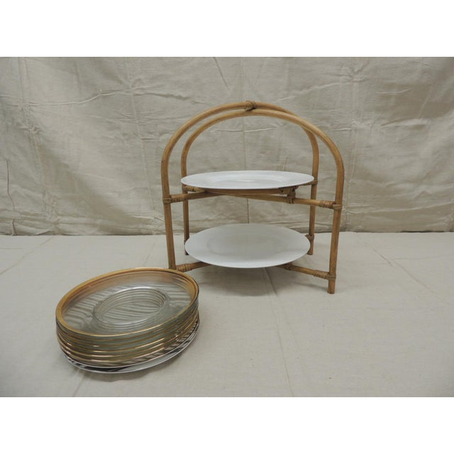 Boho Chic Vintage Bamboo With Rattan Details Two Tier Serving Stand For Sale - Image 3 of 8