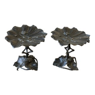 Art Deco Bronzed Lily Pad Stands, a Pair For Sale
