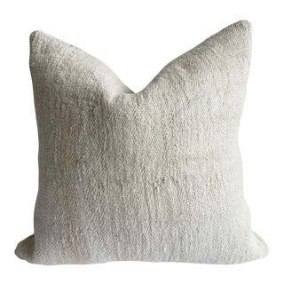 Vintage Off White Turkish Hemp Rug Pillow For Sale