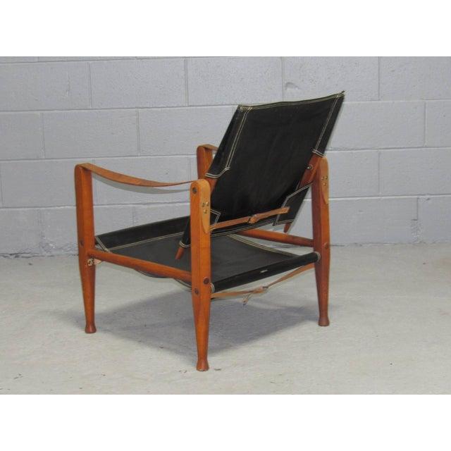 Rud Rasmussen Black Leather Safari Chair by Kaare Klint for Rud Rasmussen For Sale - Image 4 of 10