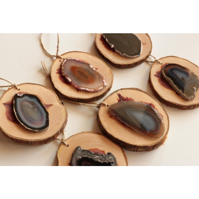 Contemporary Agate and Cedar Slice Christmas Ornaments - Set of 6 For Sale - Image 3 of 8