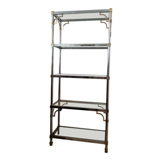 Mid-Century Modern Mastercraft Chrome With Gold Accent Etagere For Sale