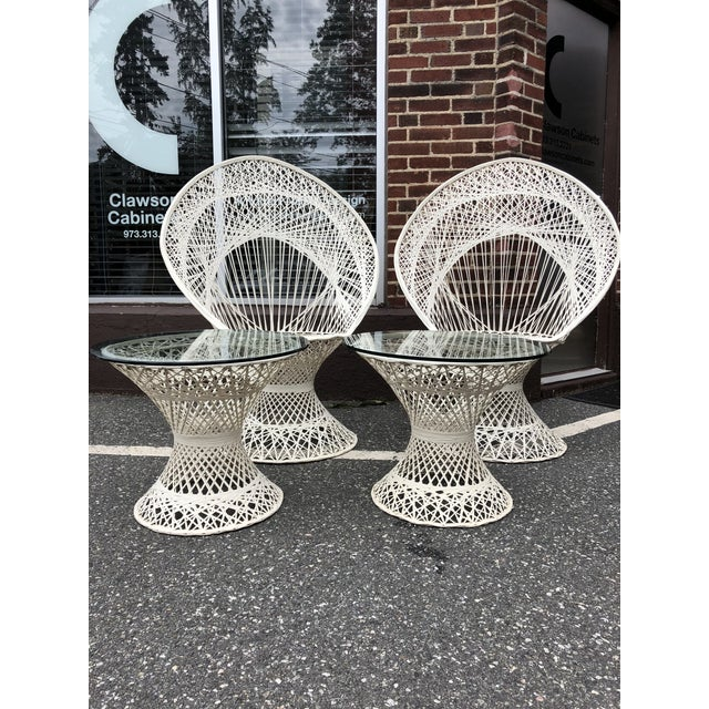 Mid-Century Modern Russell Woodard Peacock Chairs & Glass Top Side Tables - Set of 4 For Sale - Image 3 of 9