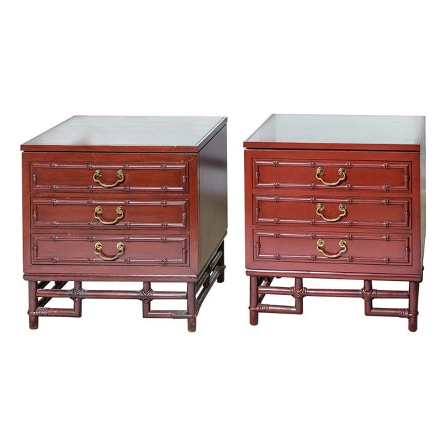 Vintage Ficks Reed Faux Bamboo Chinese Red Nightstands-A Pair For Sale - Image 12 of 12