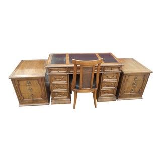 1960s Vintage Sligh-Lowry Executive Desk Set - 4 Pieces For Sale
