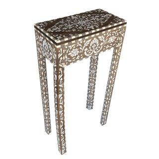 Ornate Mother of Pearl Inlay Side Table For Sale