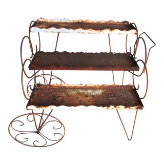 Rustic Metal Plant Stand Garden Plant Cart