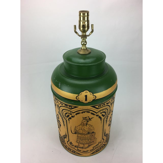 1970s 1970s Vintage English Export Chinoiserie Tea Caddy Lamp For Sale - Image 5 of 7