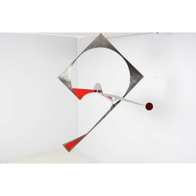 For your consideration a hanging sculpture constructed with solid stainless steel. Some areas painted in red color. Steel...