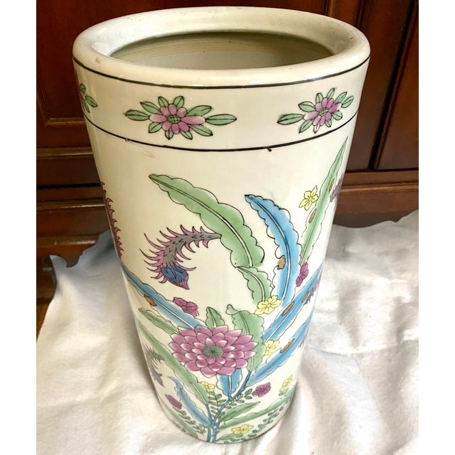 1990s Vintage Chinese Porcelain Umbrella Stand For Sale - Image 5 of 9