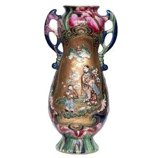 C. 1850 Extra Large Japanese Satsuma Vase For Sale