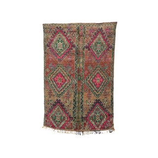 1970s Vintage Moroccan Boujad Rug - 3′6″ × 9′8″ For Sale