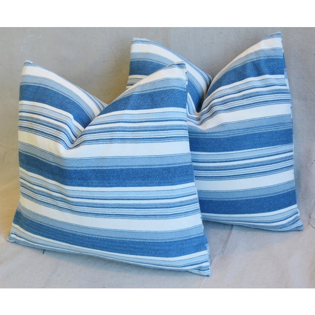 """Blue French Blue & White Nautical Stripe Feather/Down Pillows 20"""" X 18"""" - Pair For Sale - Image 8 of 13"""