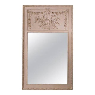 Louis XVI Grey Painted Trumeau Mirror
