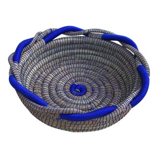 Royal Blue and Pine Needle Basket For Sale