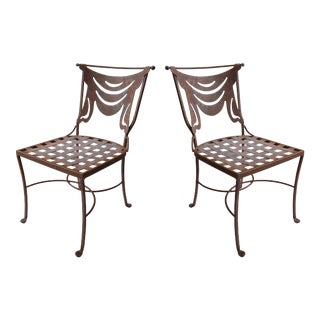 Draped Wrought Iron Chairs W/ Woven Latticework Seats- a Pair For Sale