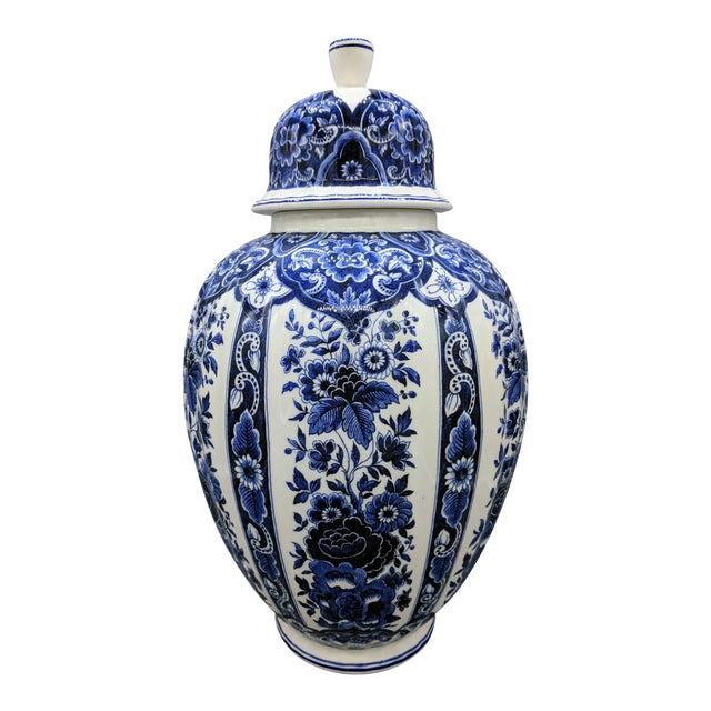 Large 20th Century Italian Blue & White Ardalt Delphia Ginger Jar For Sale