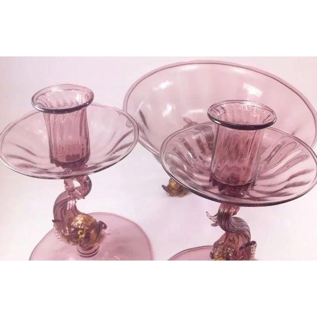 Antonio Salviati Venetian/Murano Glass Three Piece Console Ensemble Set For Sale - Image 4 of 9