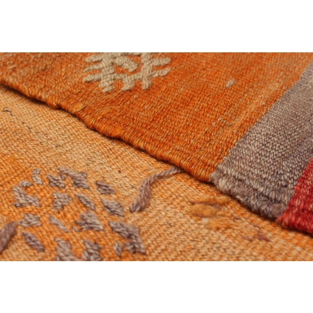 Turkish Orange Wool Pile Large Vintage Rug - 5' x 7' - Image 2 of 2