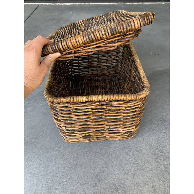 2010s Pottery Barn Woven Rattan and Wicker Lidded Basket For Sale - Image 5 of 7