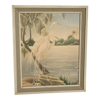 Vintage Mid Century Modern Flamingos Wall Mantle Picture by Turner #37 For Sale