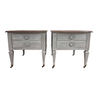 Weathered Wood Side Tables - A Pair